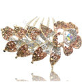 Hair Accessories Crystal Rhinestone Flower Alloy Bride Hair Clip Combs - Champagne