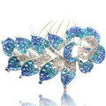 Hair Accessories Crystal Rhinestone Flower Alloy Bride Hair Clip Combs - Sky blue