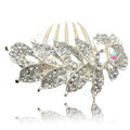 Hair Accessories Crystal Rhinestone Flower Alloy Bride Hair Clip Combs - White