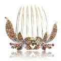 Hair Accessories Crystal Rhinestone Flower Alloy Hair Clip Combs - Champagne