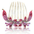 Hair Accessories Crystal Rhinestone Flower Alloy Hair Clip Combs - Pink
