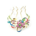 Hair Accessories Crystal Rhinestone Flower Alloy Hair Pin Clip Comb - Multicolor