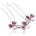 Hair Accessories Crystal Rhinestone Flower Metal Hair Pin Clip Fork Combs - Pink