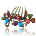 Hair Accessories Crystal Rhinestone Retro Alloy Flowers Hair Clip Combs - Multicolor