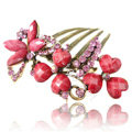 Hair Accessories Crystal Rhinestone Retro Alloy Flowers Hair Clip Combs - Red