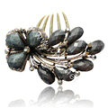 Hair Accessories Crystal Rhinestone Retro Flower Alloy Hair Clip Combs - Black