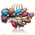 Hair Accessories Crystal Rhinestone Retro Flower Alloy Hair Clip Combs - Multicolor