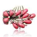 Hair Accessories Crystal Rhinestone Retro Flower Alloy Hair Clip Combs - Red