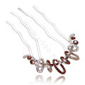Hair Accessories Crystal Rhinestone Ring Alloy Hair Pin Clip Fork Combs - Coffee