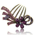 Hair Accessories Retro Flower Rhinestone Crystal Alloy Hair Combs Clip - Purple