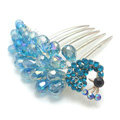 Hair Accessories Rhinestone Crystal Beads Peacock Alloy Hair Clip Combs - Blue