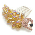 Hair Accessories Rhinestone Crystal Beads Peacock Alloy Hair Clip Combs - Champagne