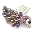 Hair Accessories Rhinestone Crystal Beads Peacock Alloy Hair Clip Combs - Multicolor