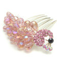 Hair Accessories Rhinestone Crystal Beads Peacock Alloy Hair Clip Combs - Pink