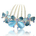 Hair Accessories Rhinestone Crystal Butterfly Alloy Hair Clip Combs - Blue