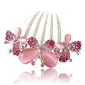 Hair Accessories Rhinestone Crystal Butterfly Alloy Hair Clip Combs - Pink