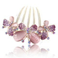 Hair Accessories Rhinestone Crystal Butterfly Alloy Hair Clip Combs - Purple