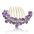 Hair Accessories Rhinestone Crystal Flower Alloy Hair Clip Combs - Purple