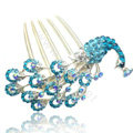 Hair Accessories Rhinestone Crystal Peacock Alloy Hair Combs Clip - Blue