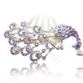 Hair Accessories Rhinestone Crystal Peacock Alloy Hair Combs Clip - Purple