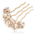 Hair Accessories Rhinestone Crystal Pearl Bridal Combs Hair Pin Clip Fork - White