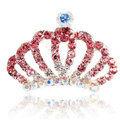 Mini Alloy Crown Hair Accessories Crystal Rhinestone Hair Pin Clip Combs - Pink