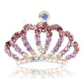 Mini Alloy Crown Hair Accessories Crystal Rhinestone Hair Pin Clip Combs - Purple