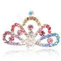 Mini Crown Alloy Hair Accessories Rhinestone Crystal Hair Pin Clip Combs - Multicolor
