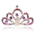 Mini Crown Alloy Hair Accessories Rhinestone Crystal Hair Pin Clip Combs - Purple