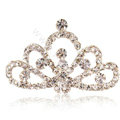 Mini Crown Alloy Hair Accessories Rhinestone Crystal Hair Pin Clip Combs - White