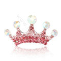 Mini Crown Hair Accessories Alloy Crystal Rhinestone Hair Pin Clip Combs - Pink