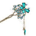 Retro Tassel Crystal Rhinestone Butterfly Hairpin Hair Clasp Clip Fork Stick - Blue