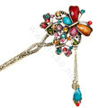 Retro Tassel Crystal Rhinestone Butterfly Hairpin Hair Clasp Clip Fork Stick - Multicolor