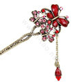 Retro Tassel Crystal Rhinestone Butterfly Hairpin Hair Clasp Clip Fork Stick - Red