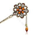 Retro Tassel Rhinestone Crystal Flower Hairpin Hair Clasp Clip Fork Stick - Coffee