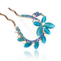 U Shape HairPin Rhinestone Crystal Butterfly Hair Clip Comb Fork Stick - Blue