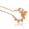 U Shape HairPin Rhinestone Crystal Butterfly Hair Clip Comb Fork Stick - Champagne