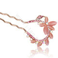 U Shape HairPin Rhinestone Crystal Butterfly Hair Clip Comb Fork Stick - Pink