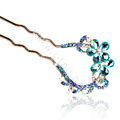 U Shape HairPin Rhinestone Crystal Flower Hair Comb Clip Fork Stick - Blue
