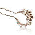 U Shape HairPin Rhinestone Crystal Flower Hair Comb Clip Fork Stick - Champagne