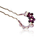 U Shape HairPin Rhinestone Crystal Flower Hair Comb Clip Fork Stick - Purple