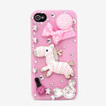 Alloy Pink Zebra Bowknot Rhinestone Crystal DIY Cell Phone Case Cover Deco Den Kits