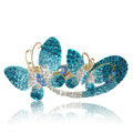 Crystal Rhinestone Butterfly Hair Clip Barrette Metal Hair Slide - Blue