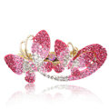 Crystal Rhinestone Butterfly Hair Clip Barrette Metal Hair Slide - Pink