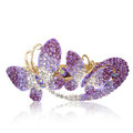 Crystal Rhinestone Butterfly Hair Clip Barrette Metal Hair Slide - Purple