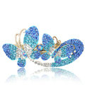 Crystal Rhinestone Butterfly Hair Clip Barrette Metal Hair Slide - Sky blue