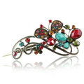 Crystal Rhinestone Butterfly Retro Hairpin Duckbill Clip Hair Slide Clamp - Multicolor