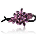Crystal Rhinestone Flower Twist Hair Clip Slide Clamp Hair Accessories - Purple