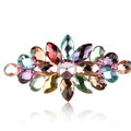Luxury Crystal Rhinestone Flower Hair Barrette Clip Metal Hair Slide - Multicolor