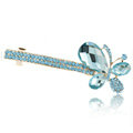 Rhinestone Crystal Butterfly Hair Barrette Clip Metal Hair Slide - Blue